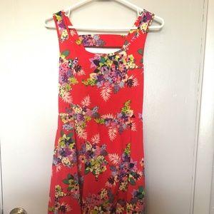 Red summer floral dress
